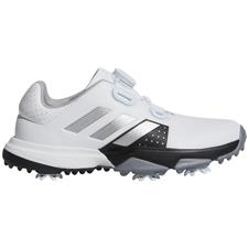 Adidas White-Silver Metallic-Core Black Adipower BOA Golf Shoes for Juniors