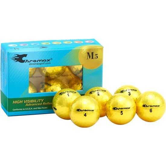 Chromax Metallic Yellow M5 Golf Balls - 6-Pack