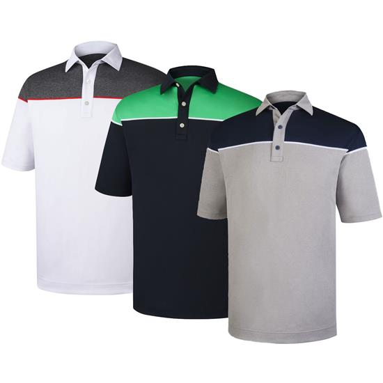 FootJoy Men's Color Block Stretch Pique Self Collar Polo