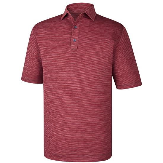 FootJoy Men's Heather Mini Stripe Athletic Fit Self Collar Polo