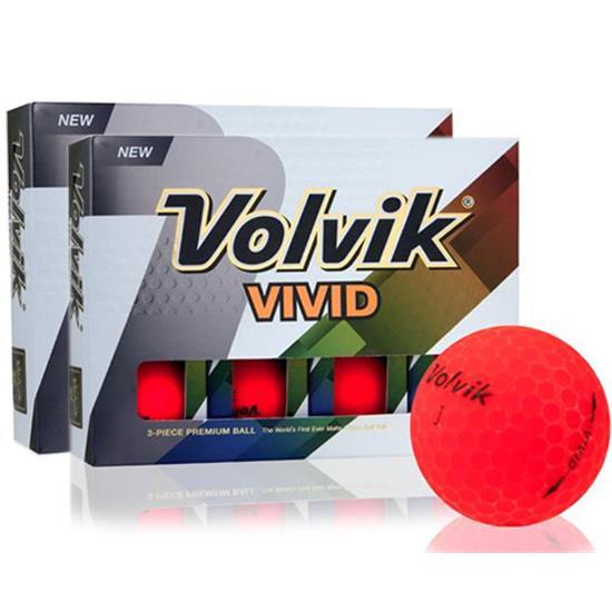 Volvik Vivid Matte Red Golf Balls - Double Dozen