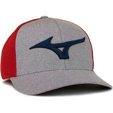 Mizuno Men's Fitted Meshback Hat - Red-Navy