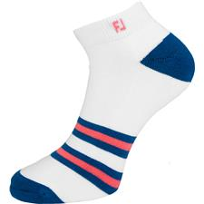 FootJoy Men's Asheville ProDry Fashion Sport Socks - 360 Striped White-Indigo-Coral
