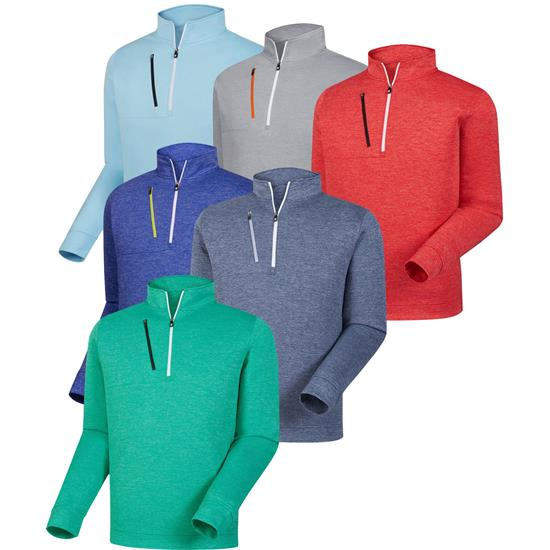 FootJoy Men's Heather Pinstripe Half-Zip Pullovers