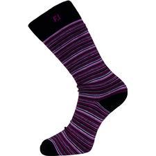 FootJoy Men's Portsmouth ProDry Fashion Crew Socks - Mini Striped Black-Mulberry-Charcoal-White