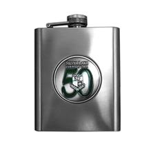 Logo Golf Brushed Metal Flask