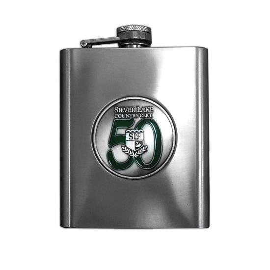 Logo Golf Brushed Metal Flask
