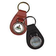 Logo Golf Die Struck Antique Wreath Leather Fob