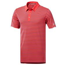 Adidas Shock Red-Dark Marine Climachill Three-Color Stripe Polo
