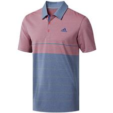 Adidas Dark Marine Heather-Shock Red-Grey Three Ultimate365 Heather Stripe Polo