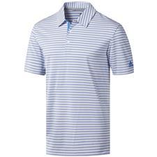 Adidas White-True Blue Ultimate365 Two-Color Stripe Polo