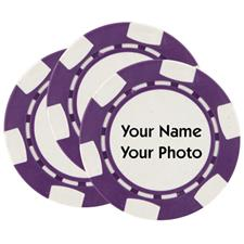 Classic Photo Poker Chips - Purple - 3 Pack