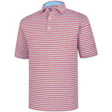 FootJoy Caribbean Heather-Scarlet Heather Heather Lisle Stripe Self Collar Polo