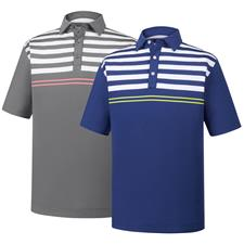 FootJoy Men's Lisle Engineered Chest Stripes Self Collar Polo