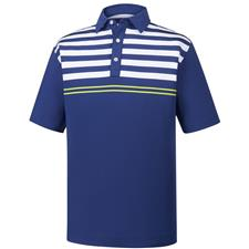 FootJoy Twilight White-Citrus Lisle Engineered Chest Stripes Self Collar Polo