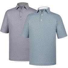 FootJoy Men's Lisle Foulard Print Self Collar Athletic Fit Polo