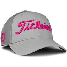Titleist Men's Tour Sports Mesh Golf Hat - Grey-Magenta - Small/Medium