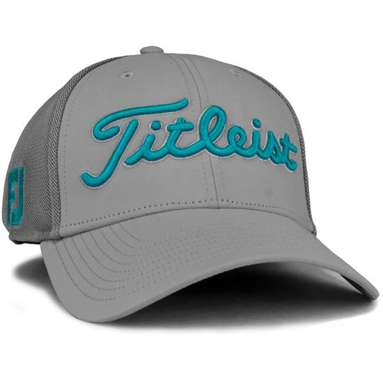 f1552485b180a Titleist Men s Tour Sports Mesh Golf Hat - Grey-Teal - Medium Large ...