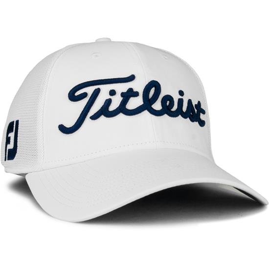 ebe06b096a653 Titleist Men s Tour Sports Mesh Golf Hat - White-Navy - Medium Large ...
