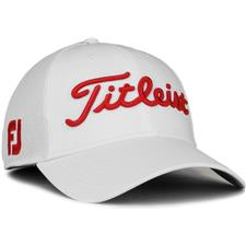 Titleist Men's Tour Sports Mesh Golf Hat - White-Red - Large/X-Large