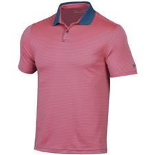 Under Armour Petrol-Blitz Red Performance Pin Stripe Polo