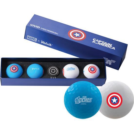 Volvik Vivid Golf Ball Gift Set - Marvel Captain America