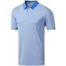 Adidas True Blue-White ClimaChill Tonal Stripe Polo
