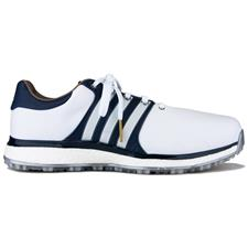 Adidas Cloud White-Collegiate Navy-Gold Metallic Tour360 XT Spikeless Golf Shoes