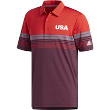 Adidas Collegiate Red USA Ultimate Bold Stripe Polo