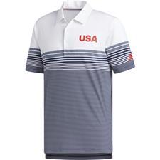 Adidas White USA Ultimate Bold Stripe Polo