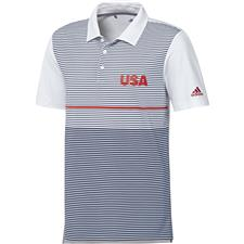 Adidas White-Collegiate Navy-Collegiate Red USA Ultimate Color Block Polo