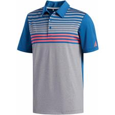 Adidas Grey Three-Dark Marine-Shock Red Ultimate365 3-Stripes Heather Polo