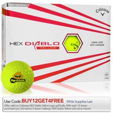 Callaway Golf HEX Diablo Yellow Custom Logo Golf Balls