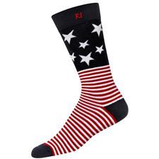 FootJoy Men's ProDry Crew Stars and Stripes Sock - White-Red-Navy