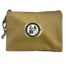 Logo Golf Canvas Zippered Valuables Pouch - Antique Brass