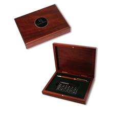 Logo Golf Rosewood Box with Pen and Calculator