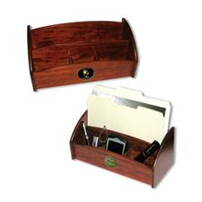 Logo Golf Rosewood Desk Organizer - File Folder Size