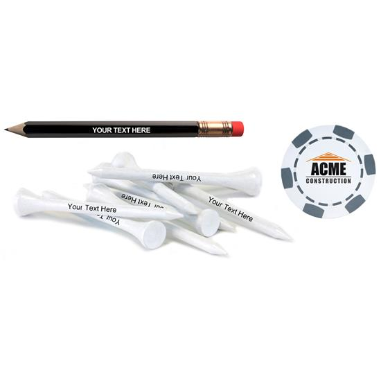 Logo Personalized Pencil w/ Poker Chip Marker & Tees
