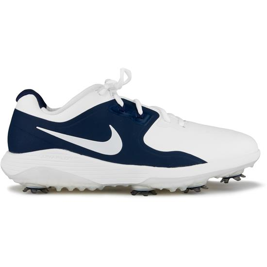 Nike Men S Vapor Pro Golf Shoes White Metallic White Midnight Navy Volt 8 1 2 Medium Golfballs Com