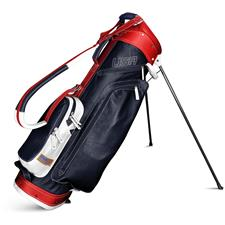 Sun Mountain Leather Stand Bag - Navy-White-Red