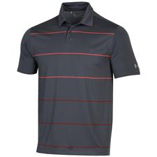 Under Armour Pitch Grey-Beta Red-Stadium Performance Target Stripe Polo