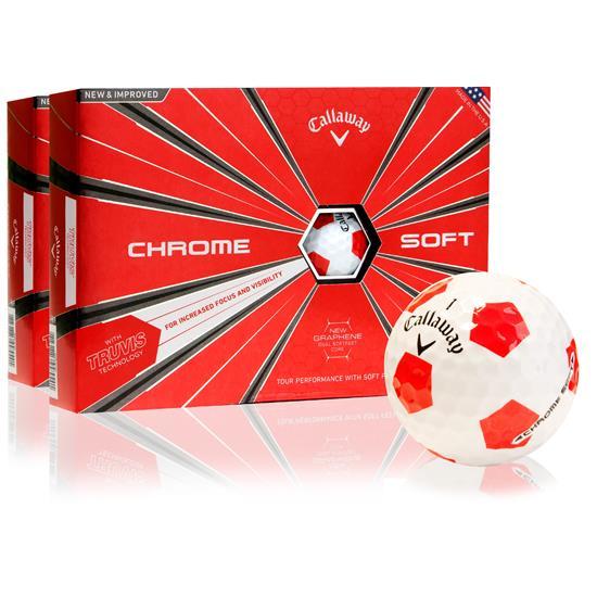 Callaway Golf Chrome Soft Truvis Red Golf Balls - 2 Dozen