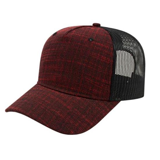 Custom Logo Men's Five Panel Poly/Rayon with Mesh Back Cap
