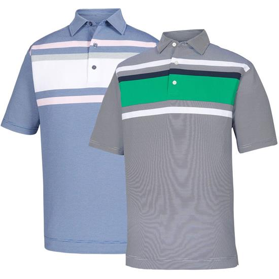 FootJoy Men's End on End Lisle Chestband Self Collar Polo
