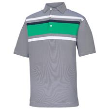FootJoy Navy-White-Kelly Green End on End Lisle Chestband Self Collar Polo
