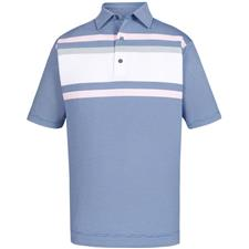 FootJoy Ultramarine-Heather Grey-White-Light Pink End on End Lisle Chestband Self Collar Polo