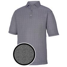 FootJoy Black-White Lisle Dot Print Self Collar Polo