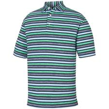 FootJoy Navy-Sky-Kelly Green Lisle Melange Stripe Self Collar Polo