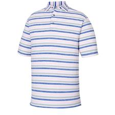 FootJoy White-Ultramarine-Light Pink-Grey Lisle Melange Stripe Self Collar Polo