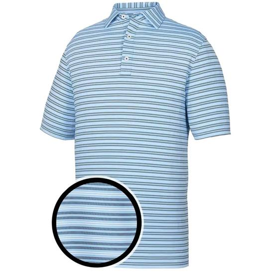 FootJoy Men's Lisle Pinstripe Athletic Fit Self Collar Polo